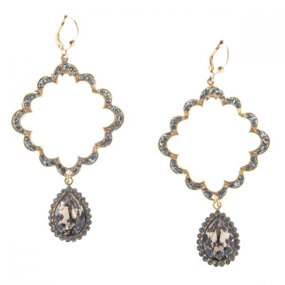 Catherine Popesco Scalloped Square with Teardrop Crystal Earrings