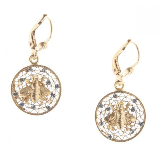 Catherine Popesco Small Round Filigree Mesh Crystal Earrings with Bee