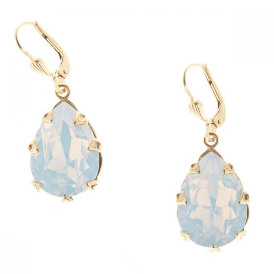Catherine Popesco Large Teardrop Crystal Earrings - White Opal