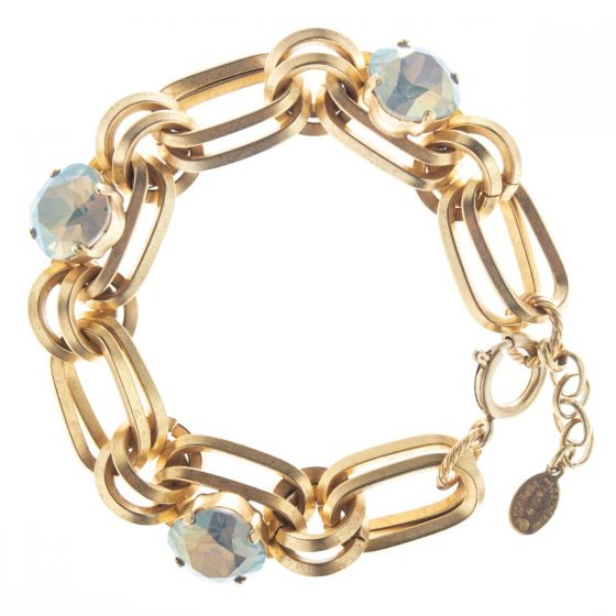 Catherine Popesco Sand Opal Oval Link Crystal Bracelet in Gold