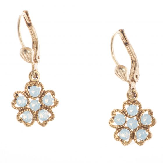 Catherine Popesco Small Crystal Flower Earrings - White Opal