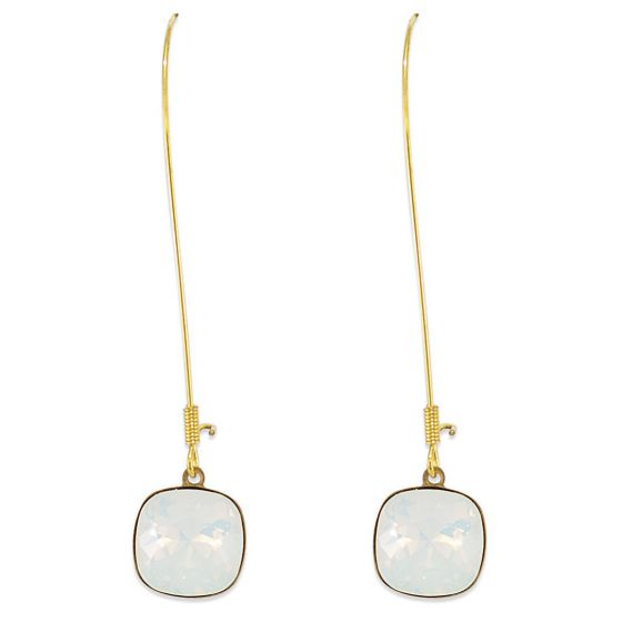 Catherine Popesco Long Hook Large Stone Crystal Earrings - Assorted Colors