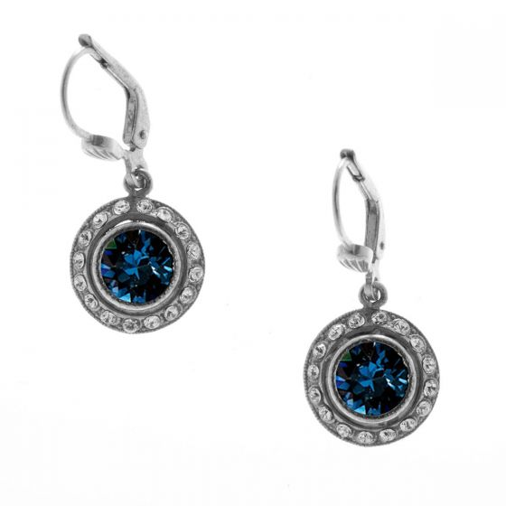 Catherine Popesco Small Round Rhinestone Dangle Earrings - Montana Blue