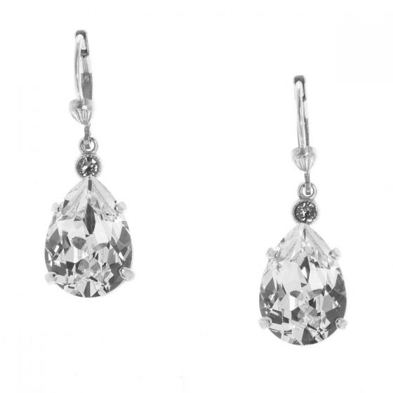 Catherine Popesco Teardrop Crystal Earrings - Shade and Silver