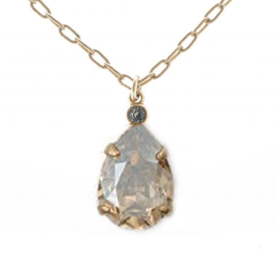 Catherine Popesco Teardrop Crystal Pendant Necklace - Champagne