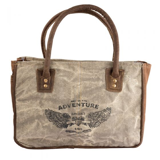 Adventure Heart with Wings Leather & Canvas Tote Bag by Clea Ray