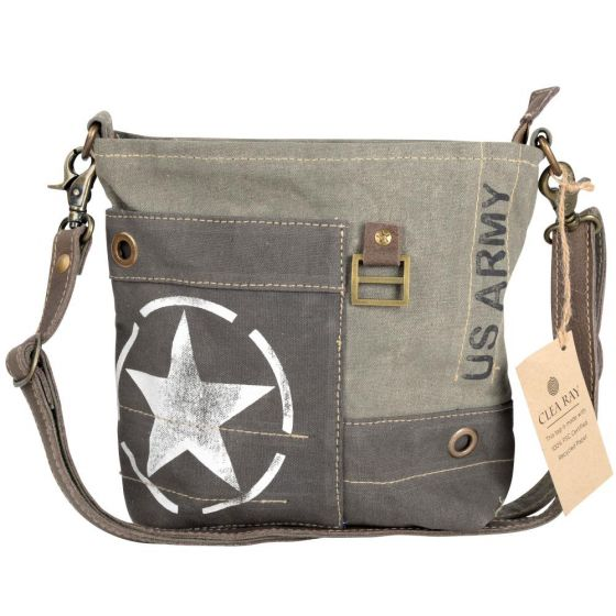 US Army Star Leather & Canvas Shoulder Bag/Purse by Clea Ray