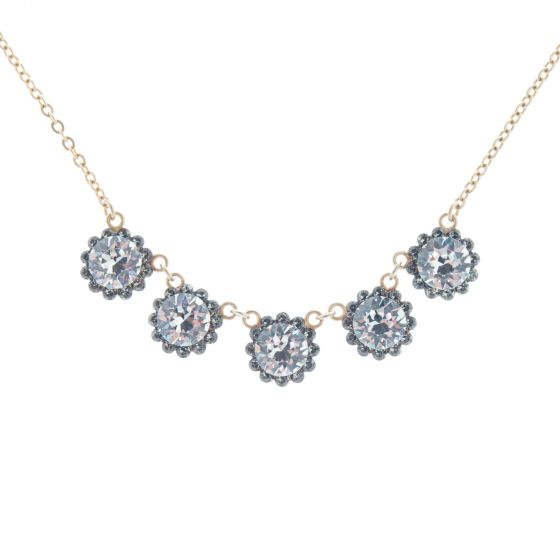 Catherine Popesco 5 Stone Crystal Flower Necklace - Clear & Black Diamond