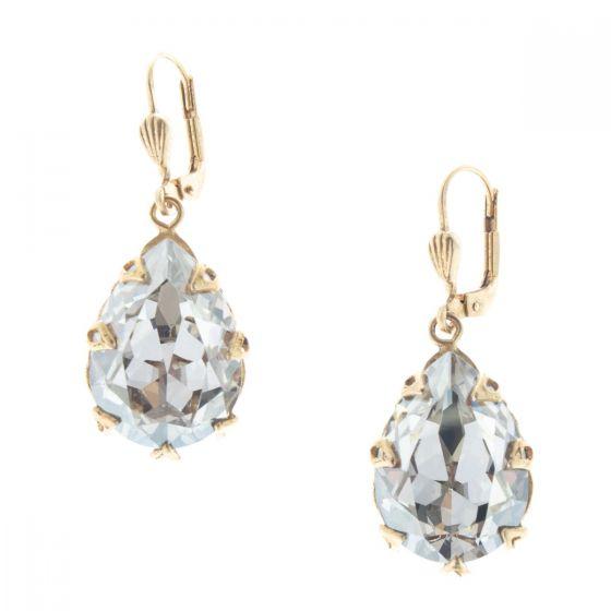 Catherine Popesco Large Teardrop Crystal Earrings - Shade & Gold