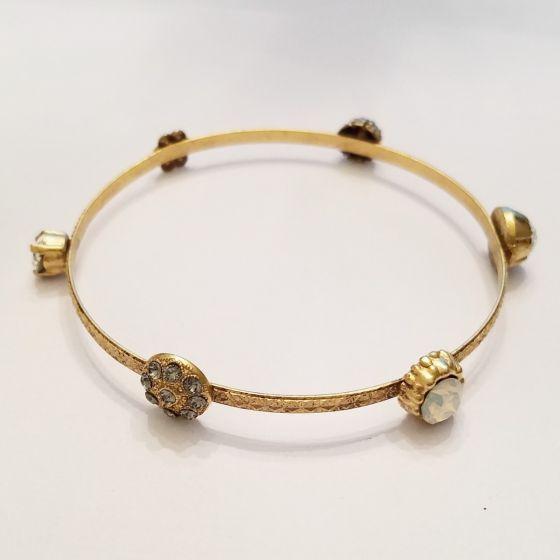 Catherine Popesco Crystal Charm Bangle Bracelet - White Opal