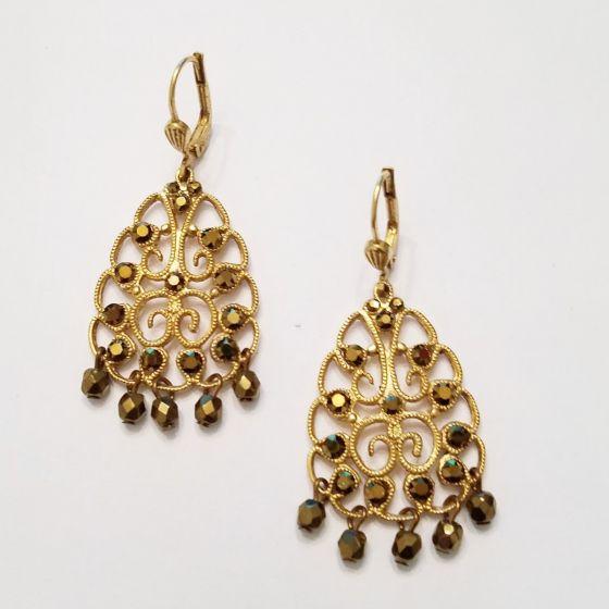 Catherine Popesco Dorado Crystal Beaded Filigree Earrings
