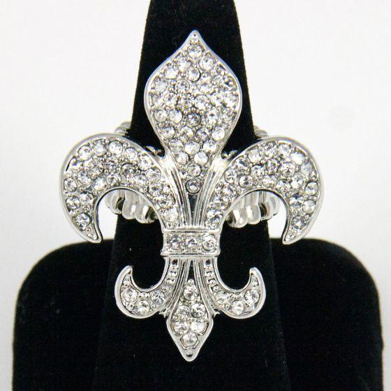 Crystal Fleur De Lys Silver Stretch Ring  Bracchiale