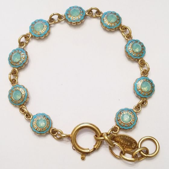 Catherine Popesco French Enamel Flower Crystal Bracelet - Pacific Opal