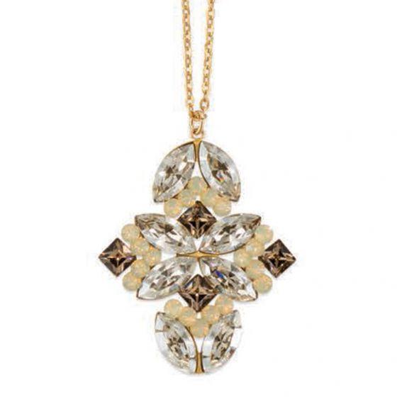 Catherine Popesco Shade Quatrefoil Crystal Pendant Necklace