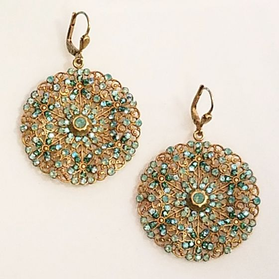 Catherine Popesco Medium Lacy Pacific Opal Round Medallion Gold Earrings