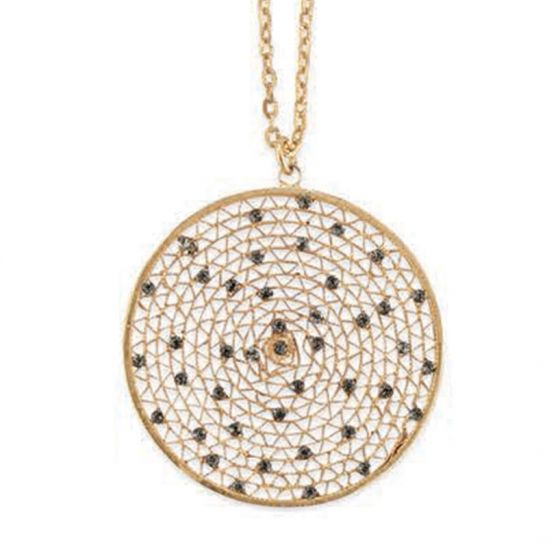 Catherine Popesco Large Round Crystal Filigree Mesh Pendant Necklace