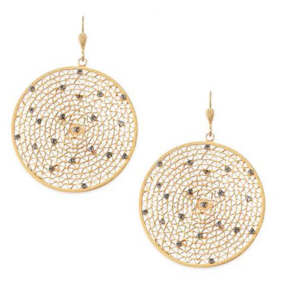 Catherine Popesco Large Round Crystal Filigree Mesh Pendant Earrings