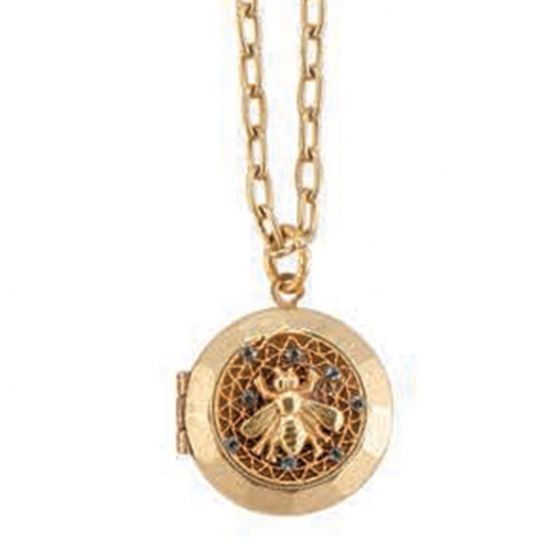 Catherine Popesco Round Crystal Filigree Mesh Bee Locket Necklace