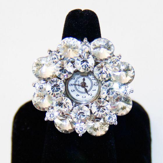 Crystal Watch Silver Stretch Ring  Bracchiale
