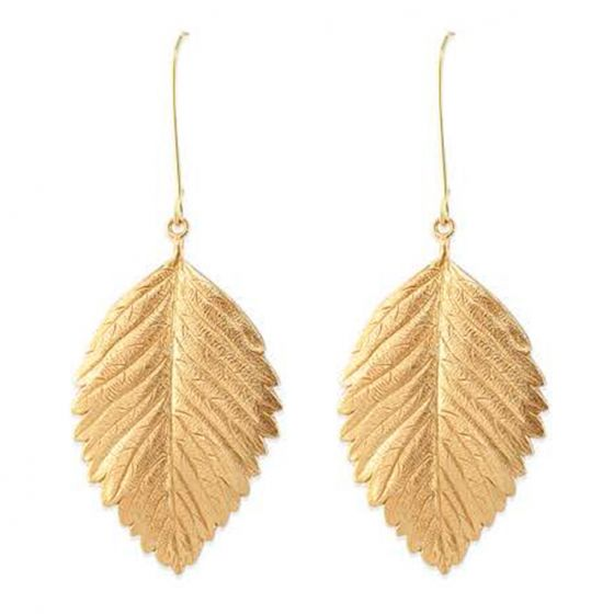 Catherine Popesco Gold Leaves Long Wire Earrings