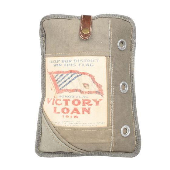 Victory Loan iPad Tablet Holder by Clea Ray Leather & Re-purposed Canvas