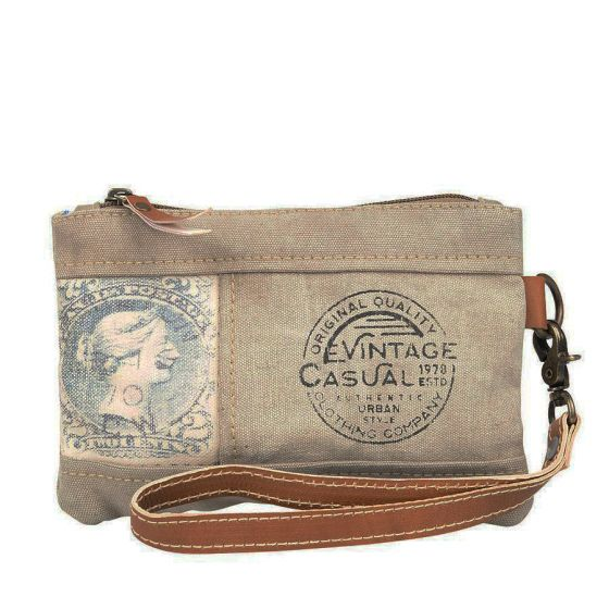 Vintage Casual Stamp Wristlet Pouch by Clea Ray Leather & Canvas