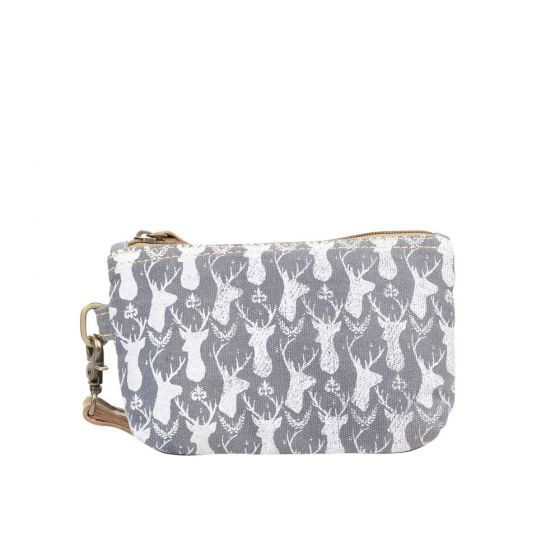 Deer Print Wristlet Pouch by Clea Ray Leather & Canvas