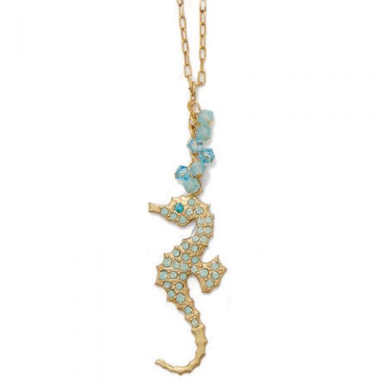Catherine Popesco Crystal Pacific Opal Seahorse Necklace