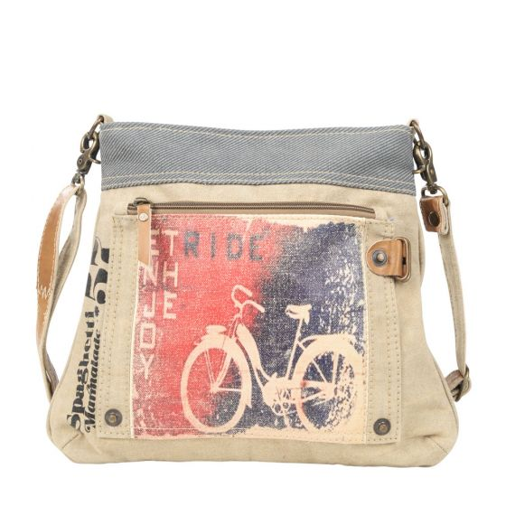 Bike Enjoy the Ride Crossbody Shoulder Bag/Purse by Clea Ray Leather & Canvas