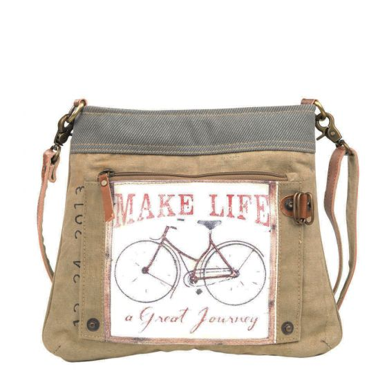 Make Life a Journey Bicycle Crossbody Shoulder Bag/Purse by Clea Ray Leather & Canvas