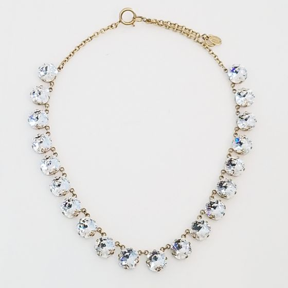Catherine Popesco 20 Stone Clear Crystal Necklace - Gold