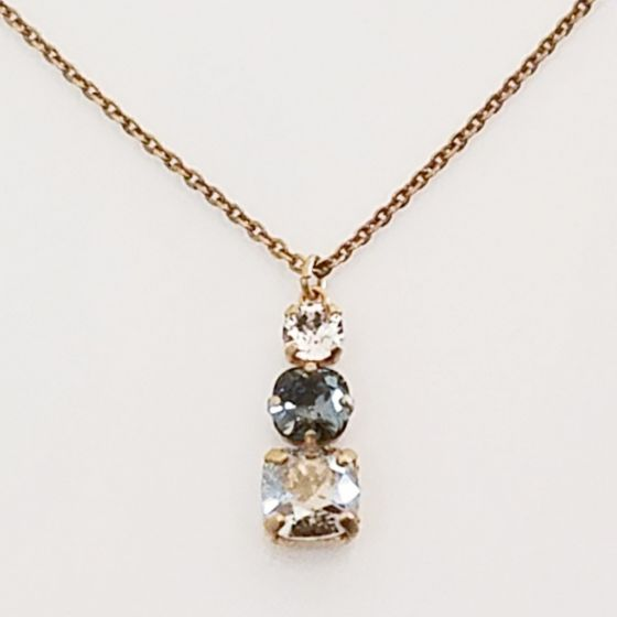 Catherine Popesco 3 Stone Crystal Pendant Necklace - Shade & Black Diamond