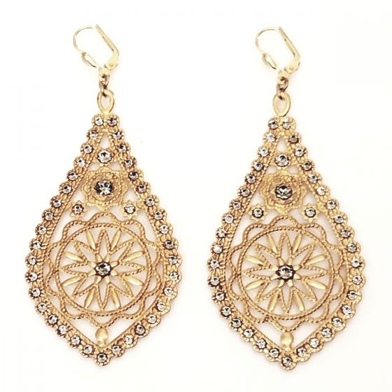 Catherine Popesco Large Filigree Teardrop Earrings - Assorted Colors