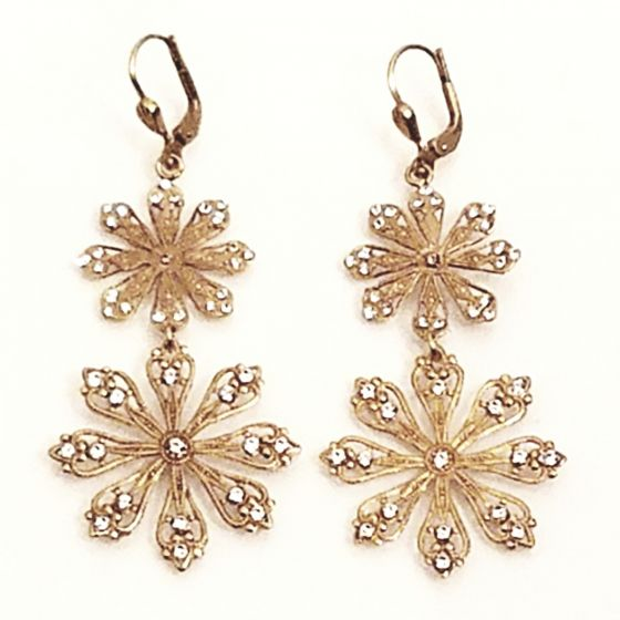 Catherine Popesco Double Snowflake Crystal Earrings