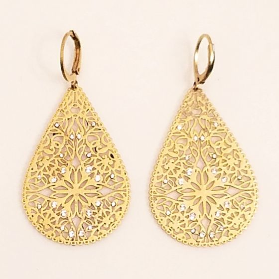Catherine Popesco Teardrop Filigree Crystal Earrings