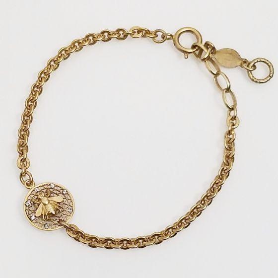 Catherine Popesco Small Round Crystal Filigree Mesh Bee Bracelet