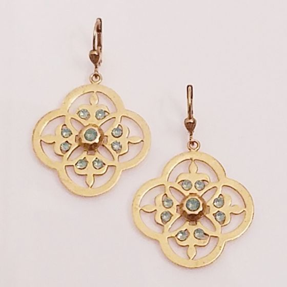 Catherine Popesco Pacific Opal Openwork Lotus Crystal Earrings