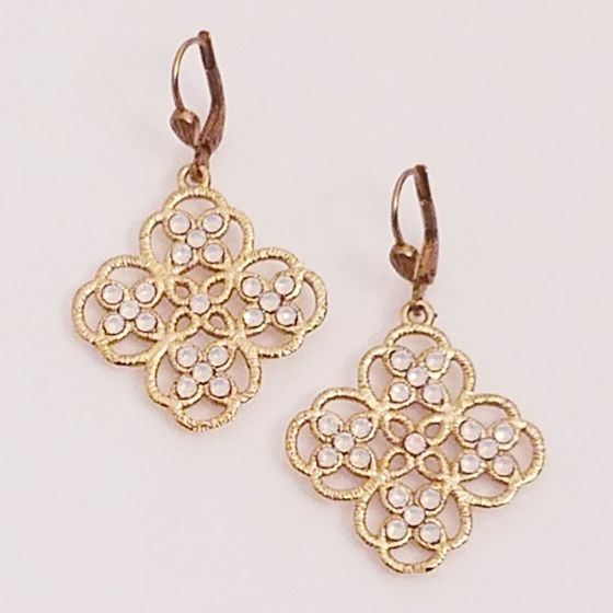 Catherine Popesco White Opal Filigree Lotus Crystal Earrings