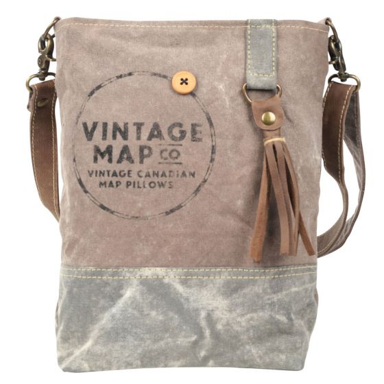 Vintage Map Co Crossbody Shoulder Bag/Purse by Clea Ray Leather & Canvas