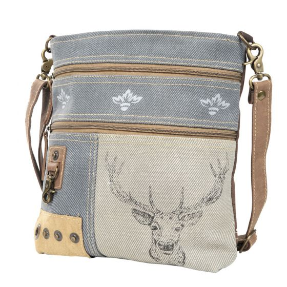 Deer and Mixed Fabrics Crossbody Shoulder Bag/Purse by Clea Ray Leather & Canvas