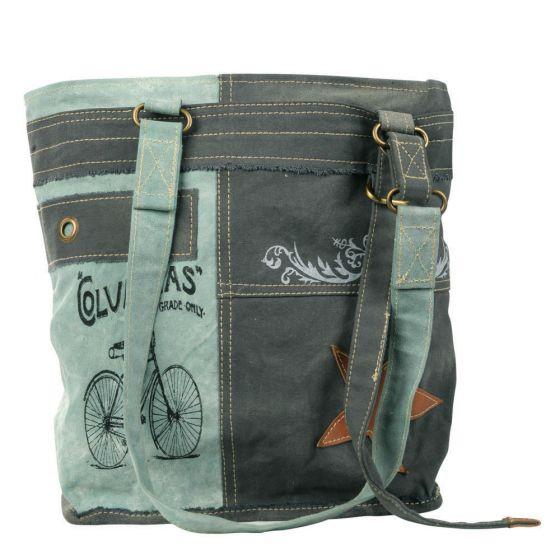 Grey & Aqua Columbias Shoulder Tote Bag/Purse by Clea Ray Leather & Canvas