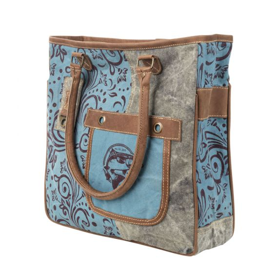 Blue & Brown Fish Shoulder Tote Bag/Purse by Clea Ray Leather & Canvas