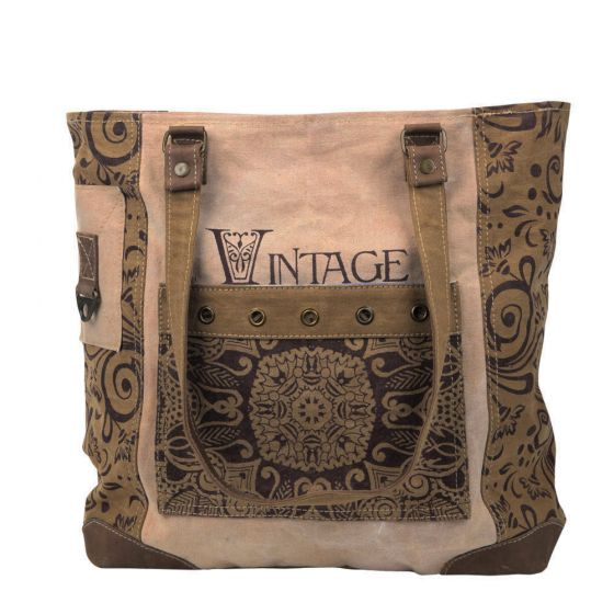 Vintage Flower Shoulder Tote Bag/Purse by Clea Ray Leather & Canvas