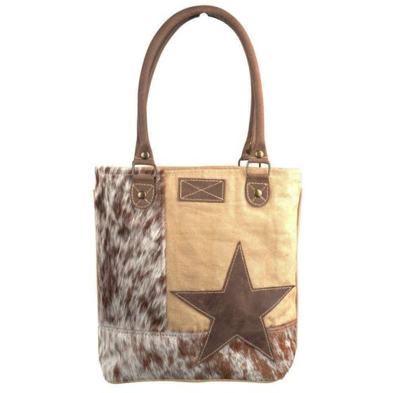 Star & Cowhide Shoulder Tote Bag/Purse by Clea Ray Leather & Canvas