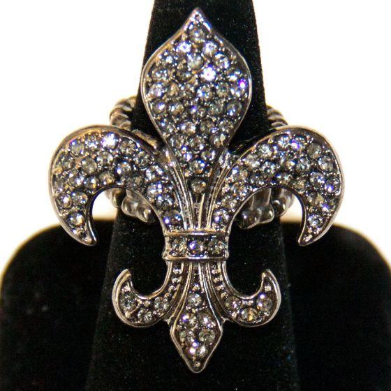 Crystal Fleur De Lys Black Diamond Stretch Ring  Bracchiale