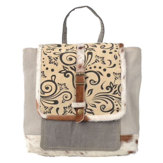 Cowhide Fur Trim Small Backpack Bag/Purse by Clea Ray Leather & Canvas