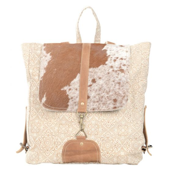 Cowhide Fur Flap Large Cream Backpack by Clea Ray Leather & Canvas