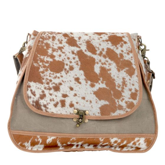 Large Cowhide Fur Trim Shoulder Bag/Purse with Latch by Clea Ray Leather & Canvas