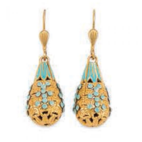 Catherine Popesco French Enamel 3-D Teardrop Shaped Crystal Earrings - Assorted Colors