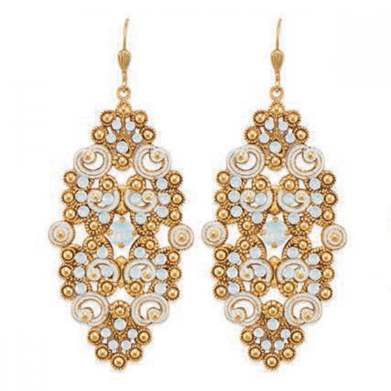 Catherine Popesco French Enamel Large Oval Crystal Earrings - Assorted Colors